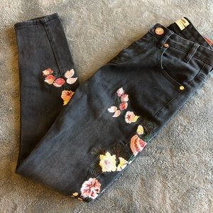 One Teaspoon - Floral Embroidered Jeans